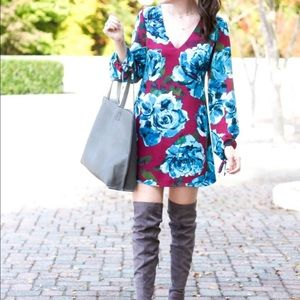 Nordstrom Leith maroon and blue floral dress - M